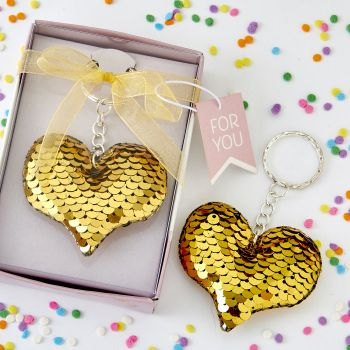 Gold / silver sequin heart key chain