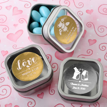 Personalized Metallic Collection Clear Top Mint Tin Favors