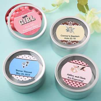 Baby Shower Personalized Expressions Collection Silver Mint Tin Favors