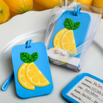Citrus themed luggage tag from fashioncraft
