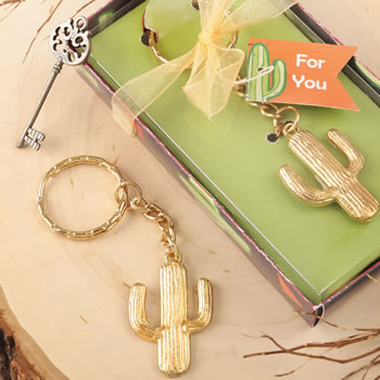 Gold metal cactus design key chain from fashioncraft