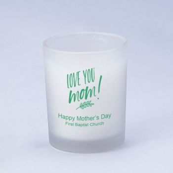 Personalized frosted candle holder with wax - Mother's Day design