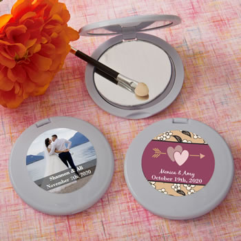 Personalized Expressions Collection silver Mirror Compact Favors
