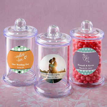 Personalized expressions collection clear acrylic apothecary jar with lid