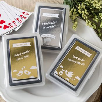 baby Shower, Birthday Personalized Metallics Collection playing card favors