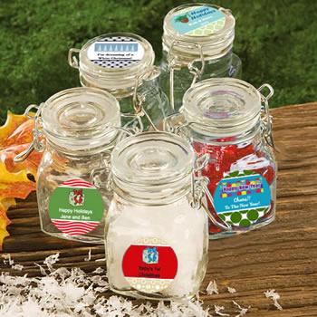 Personalized Holiday Glass Jar Favors Unique Favors