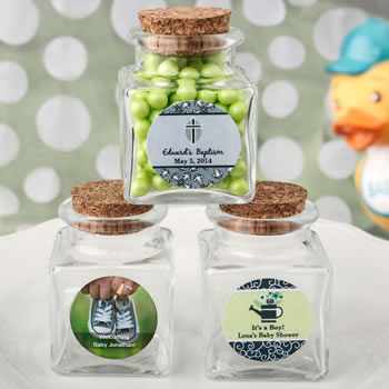 Baby Shower Personalized Expressions Collection square clear glass treat jar