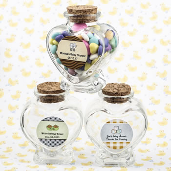 Baby Shower Personalized Expressions Collection heart shaped glass jars