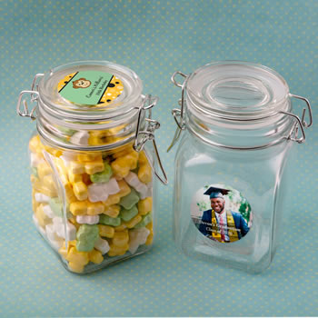 Birthday, Graduation Personalized expressions large glass apothecary jar with hinged top