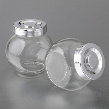Perfectly plain collection large Candy jar with a silver plated plastic vacuum seal cap