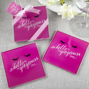 Hello Gorgeous glass Coasters set of 2 from fashioncraft