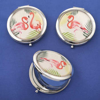 Flamingo compact mirrors  - 3 assorted tropical designs