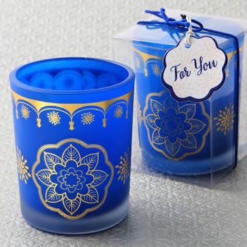 Indian / Moroccan themed Blue frosted glass votive candle with printed gold design