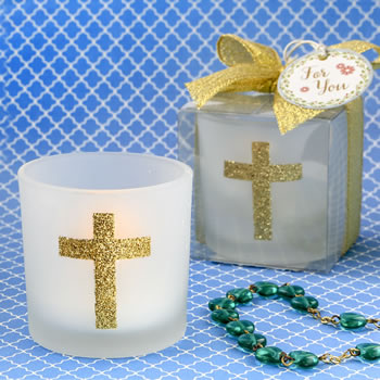 Cross themed white frosted glass candle votive holder