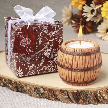Wine barrel themed tea light candle holder from fashioncraft
