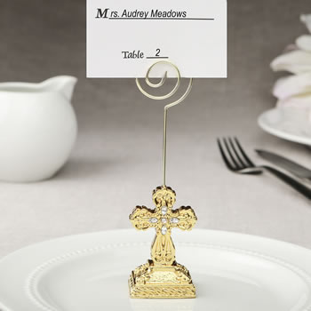 Gold Cross themed placecard holder / photo holder from fashioncraft