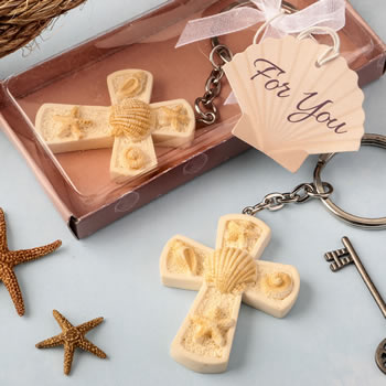 Beach themed cross key chain from fashioncraft