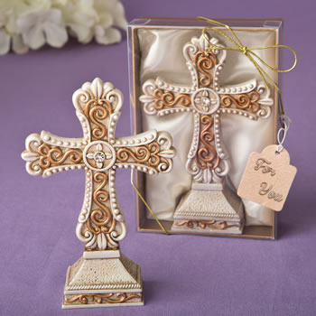 Antique ivory Cross statue with a matte gold filigree detailing from fashioncraft