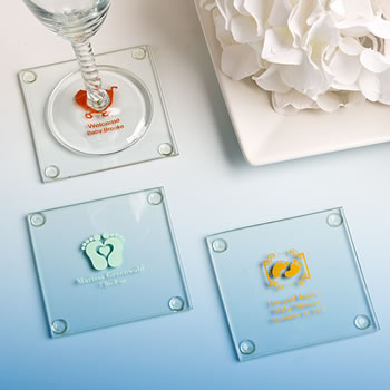 Personalized Baby Shower Glass Coasters - Exclusive Designs