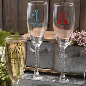 Find Personalized Champagne Flutes With Twisted Stem with quantity discounts here