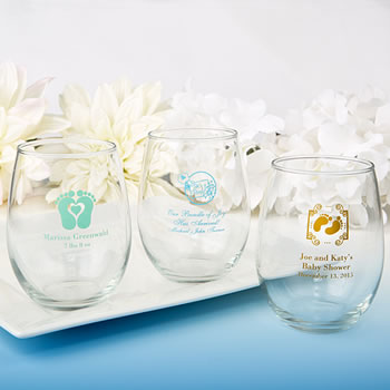 9 ounce personalized stemless wine glasses custom designs personalized baby shower design stemless wine glasses 9 oz negle Images