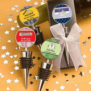Personalized  Wine  Bottle Stopper Favors - Holiday Themed
