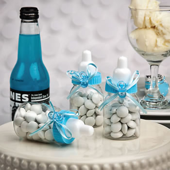 Perfectly Plain Collection Blue Baby Bottle Favors
