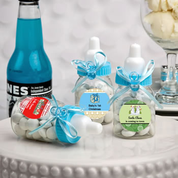 Design Your Own Collection  Blue Baby Bottle Favors - Holiday Themed