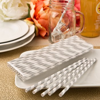 'Perfect Plain' collection Matte Silver and white stripe design paper straws