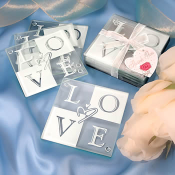 LOVE Glass Coaster Set