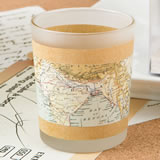 Vintage Travel themed glass candle votive