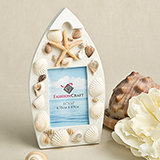 Sea Shell Boat Shaped Photo Frame With Natural Shells