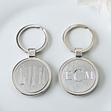 Engraved Silver key chain with brushed silver center