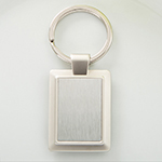 Silver Finish Metal Key Chain with Brushed Silver Center