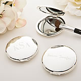 Engraved Compact Mirror - Silver Plated - Round
