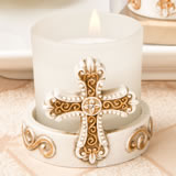 Memorial Vintage cross themed candle votive from fashioncraft
