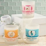 Baby Shower Clearly Custom Frosted Glass Candle Holder with Personalized Sticker