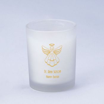Religious Frosted Glass Candle Holder With Wax