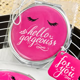 Hello Gorgeous silver metal compact mirror in hot pink