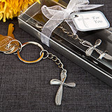 Memorial Metal cross key chain with beaded design