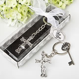 Religious Delicate Intertwined metal cross key chain from fashioncraft