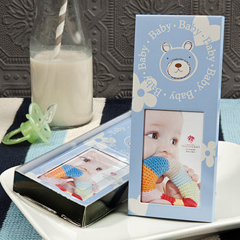 Baby boy themed teddy bear frame