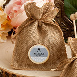 Personalized Wedding Burlap Favor Bags from the Design Your Own Collection
