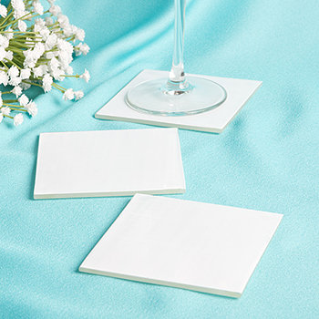 Perfectly Plain Collection - Milky White Glass Coasters