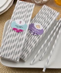 Baby Shower Customized Matte Silver and white stripe design paper straws