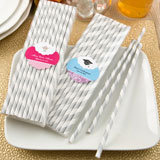 Persoanilzed Matte Silver and white stripe design paper straws