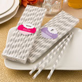 Customized Matte Silver and white stripe design paper straws