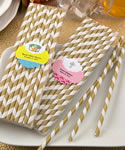 Customized Matte Gold and white stripe design paper straws