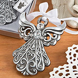 Religious Silver Angel Ornament with Antique Finish from Fashioncraft