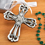 Religious Silver Cross Ornament with Antique Finish from Fashioncraft